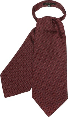 Forzieri Red Oprical Printed Twill Silk Ascot Tie