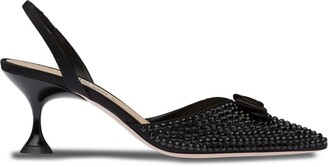 Miu Miu Crystal Embellished Slingback Pumps