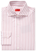 Isaia Embroidered Striped Cotton Dress Shirt