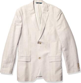 Perry Ellis Men's Linen Two Button Notch Lapel Jacket