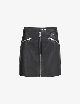 AllSaints Tarren zipped faux-leather mini skirt