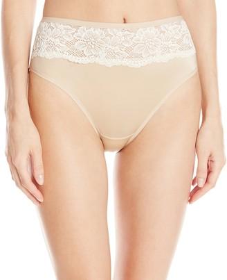Bali Women's One Smooth U Comfort Indulgence Satin with Lace Hi-Cut Panty