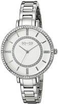 SO&CO New York Women's 5066.1 SoHo Quartz Crystal Accent Stainless Steel Watch
