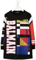 Balmain Kids glitter embellished sweatshirt dress