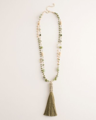 Chico's Beaded Green Tassel Necklace