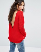 Glamorous Drop V Back Sweater In Knitted Rib