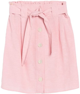 Planet Gold Paperbag Button Front Front Skirt