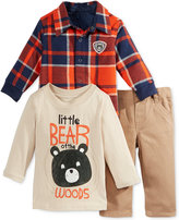 Nannette 3-Pc. Plaid Jacket, Bear T-Shirt & Pants Set, Baby Boys (0-24 months)