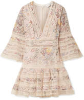 Zimmermann Lovelorn Floral-print Broderie Anglaise Cotton Mini Dress - Pastel pink