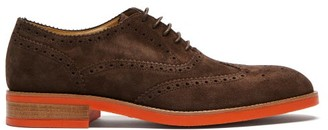 Paul Smith Fremont Contrast-sole Suede Brogues - Mens - Dark Brown