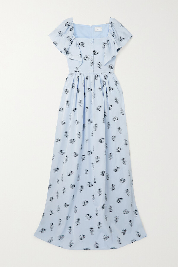 Thumbnail for your product : Erdem Ariella Fil Coupe Voile Maxi Dress - Blue
