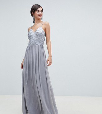 Chi Chi London Tall cami strap embellished maxi dress in gray