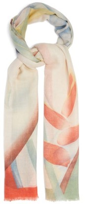 Etro Abstract-print Fine-woven Cashmere Scarf - Womens - White Multi