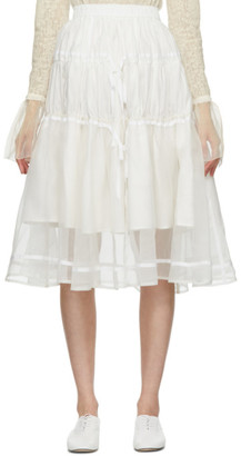 Renli Su SSENSE Exclusive White Tiered Skirt