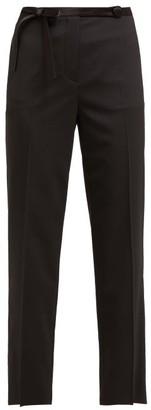 Prada Bow Waist Cropped Trousers - Womens - Black