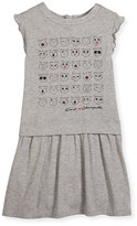 Karl Lagerfeld Faces of Choupette Jersey Dress, Gray, Size 4-5