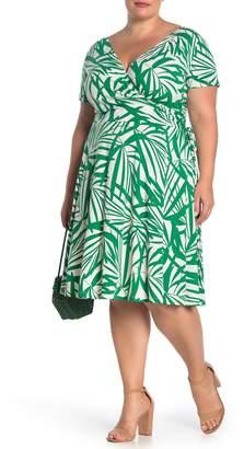 Maggy London Palm Printed Surplice Dress (Plus Size)