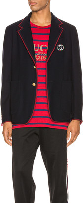 Gucci Palma Wool Cotton Jacket With Patch in Ink | FWRD
