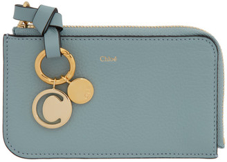 Chloé Blue Alphabet Zip Card Holder