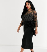 Little Mistress Plus Wrap Midi Dress With Tie Front In Black Metallic Lace On Sale For 91 From Original Price Of 130 At Asos