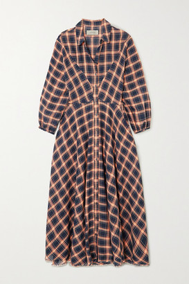 The Great The Western Checked Cotton-blend Midi Dress - Navy