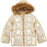 Asstd National Brand Pistachio Long-Sleeve Metallic Gold Puffer Jacket - Preschool Girls 4-6x