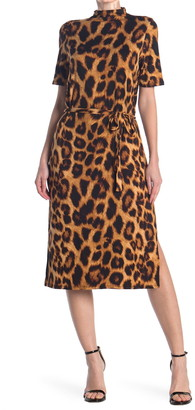 Velvet Torch Leopard Waist Tie Midi Dress