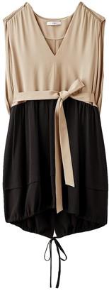 Tibi Eco Silk V-Neck Short Cape Dress in Latte Multi