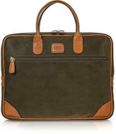 Bric's Life Medium Olive Green Micro Suede Laptop Attache