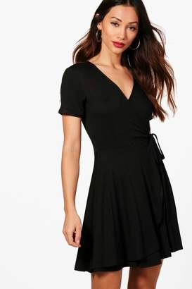 boohoo Petite Wrap Skater Dress
