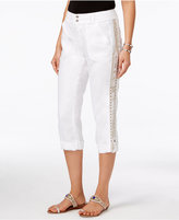 INC International Concepts Petite Linen Embellished Cargo Pants, Only at Macy's