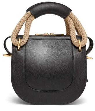 Marni Rope-handle Small Grained-leather Cross-body Bag - Womens - Black