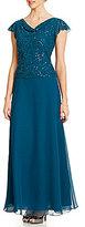 J Kara Beaded Flutter Sleeve Chiffon Gown