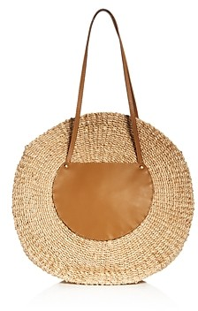 Kayu Belen Large Leather & Straw Tote