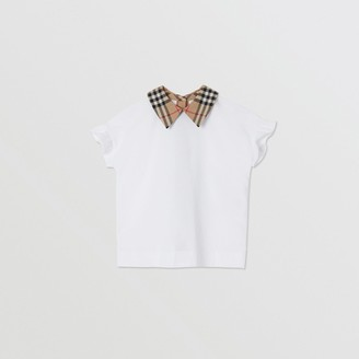 Burberry Childrens Vintage Check Detail Ruffled Sleeve Cotton T-shirt