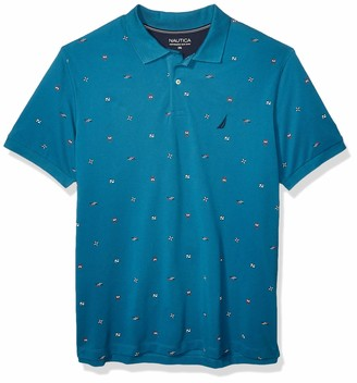 Nautica Men's Tall Short Sleeve Maritime Icon Cotton Blend Polo Shirt