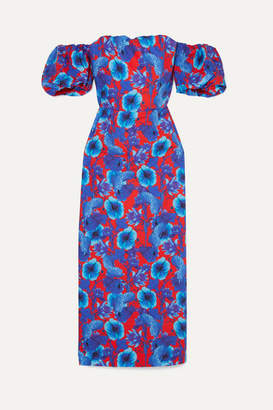 Borgo de Nor Adelita Off-the-shoulder Floral-print Cotton-poplin Dress - Blue