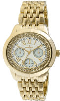 Peugeot Womens Crystal-Accent Gold-Tone Bracelet Watch