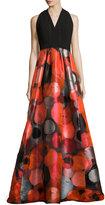 Carmen Marc Valvo Sleeveless Crepe & Taffeta Gown, Red