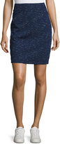 Max Studio Space-Dye Pull-On Skirt, Navy/Ivory