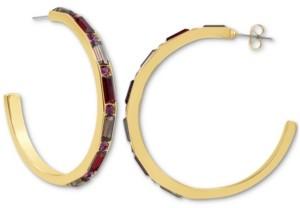 "Rachel Roy Gold-Tone Stone Front Large C-Hoop Earrings, 2"""