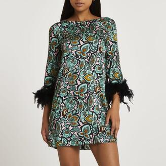 River Island Womens Green floral feather cuff mini dress