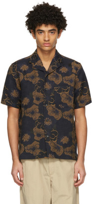 Soulland Navy and Tan Floral Pappy Short Sleeve Shirt