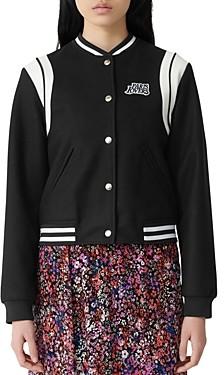Maje Berry Varsity Jacket