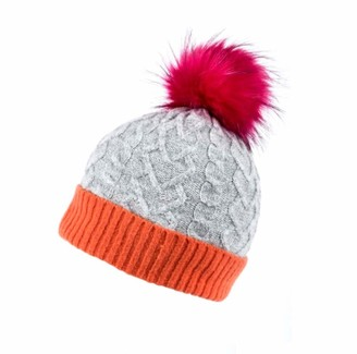 The Hat Company Cable Knit Pumpkin Faux Fur Pom Bobble Hat in Grey/Orange/Pink