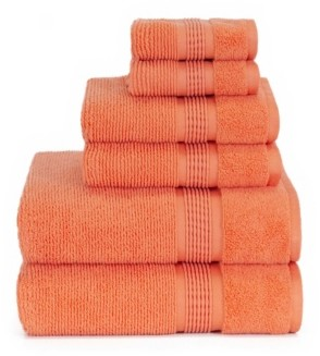 American Dawn Sapphire Resort Gifford Textured Zero Twist Ribbed Border 6 Piece Bath Towel Set Bedding