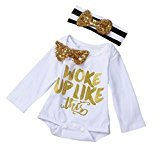 Fheaven Infant Baby Girl's Bowknot Romper Jumpsuit +Headband With Gold Bowknot 2PC Set Clothes (12M)