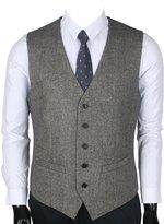 Ruth&Boaz 2Pockets 5Buttons Wool Herringbone / Tweed Business Suit Vest (XXL, )