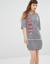 Love Moschino Striped Embroidered Logo Dress