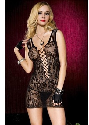 Music Legs Floral lace mini dress with net center panel and shredded shoulder strap 56112-BLACK